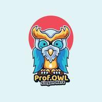profesor búho mascotas ilustración icono estilo moderno vector
