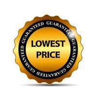 precio más bajo garantía etiqueta de oro plantilla de signo ilustración vectorial vector