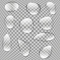 Realistic Water Drops Set On Transparent Background vector