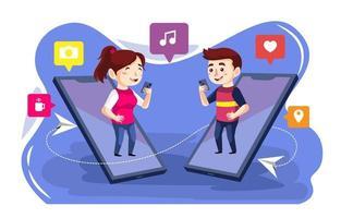 Couple Having Video Call vector