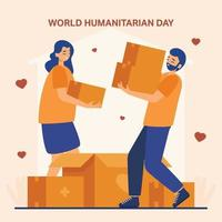 World Humanitarian Day Volunteers People Holding Cardboard Boxes vector