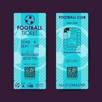 Football, Soccer Ticket Card Flat Design. Vector illustration