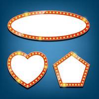 Electric bulbs billboard. oval, heart, pentagon retro light frames. vector
