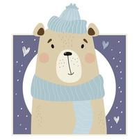 Portrait of a cute winter bear in a hat and scarf vector