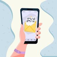 Hand holding mobile smart phone with mail app. Mail service concept. vector