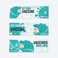 estandarte de covid 19 después de la vacuna vector