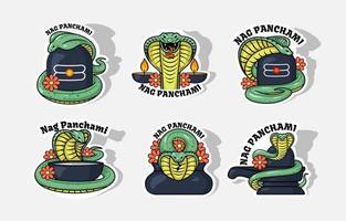 Happy Nag Panchami Sticker vector