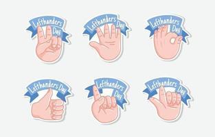 Happy Left Hand Day Sticker vector