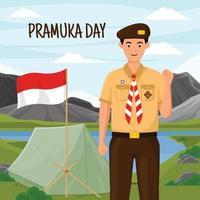 Happy Pramuka Day Camp vector