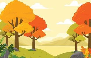 bosque de otoño por la mañana vector