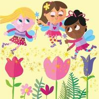 Three fairies flying around some flowers sprinkling fairy dust vector