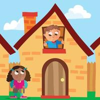 Two friends waving goodbye to each other in front of a house vector