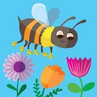 A happy bee amongst the flowers wearing striped socks vector