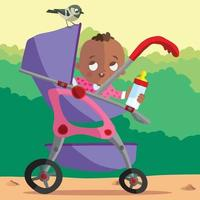 Cute baby in buggy with a sparrow looking on vector