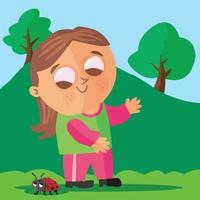 Girl saying hello to a ladybird in a field vector