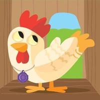 Chicken with necklace in coop with field showing through door vector