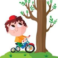 Boy riding a tricycle under a tree vector