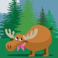 Moose in spotted neckerchief in front of pine trees vector