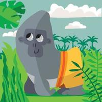 Gorilla in the jungle with yellow shorts and trees in the background vector