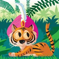 Cute Bengal Tiger resting in the jungle vector