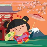Japanese girl with parasol at Fujiyama vector