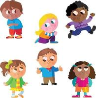 Collection of  multicultural children's poses vector