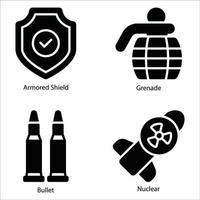 Military Glyph icons set vector