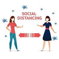 Social Distancing people vector