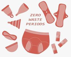 Zero waste periods. Set of reusable products for menstruation days vector