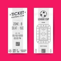 Football, Soccer Ticket Vertical Design. Vector illustration