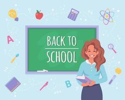 Back to school. Female teacher in classroom. School supplies vector