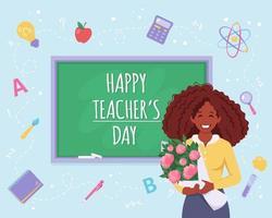Happy teacher's day. African american teacher with flowers vector