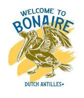 Bonaire shirt design for souvenir apparel caribbean cruise vector
