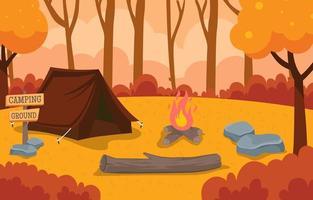 ilustración de campamento de temporada de otoño vector