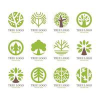 conjunto de logotipo de forma redonda de árbol vector