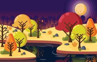 fondo de medianoche de otoño vector