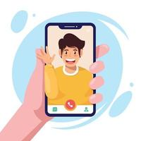 Couple Video Call with Phone vector