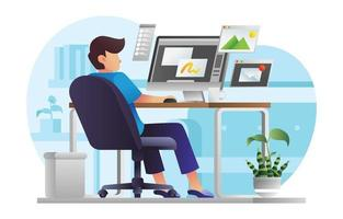 Man Work From Home vector