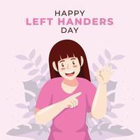 Left Handed Woman Celebrates Left Handers Day vector