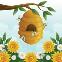 Honey Bee At Tree vector