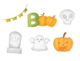 Watercolor Halloween elements set vector