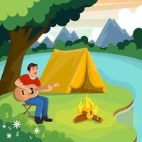 Man Camping in the River Side vector
