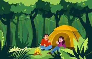 Couple Camping in the Forest vector