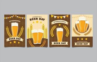 paquete de tarjetas del día internacional de la cerveza vector