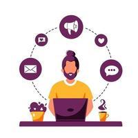 Man working on laptop. Working process, freelance, communication vector