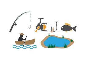 Fishing icon design template illustration vector