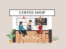 Small coffee shop business illustration visitor and waitress vector