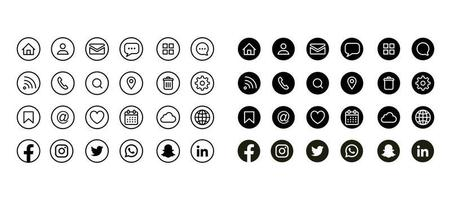 Social Media and Contact Icons set vector