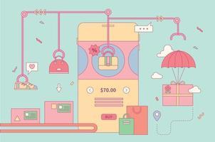 Mobile shopping factory vector