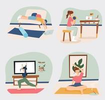 Home training people vector